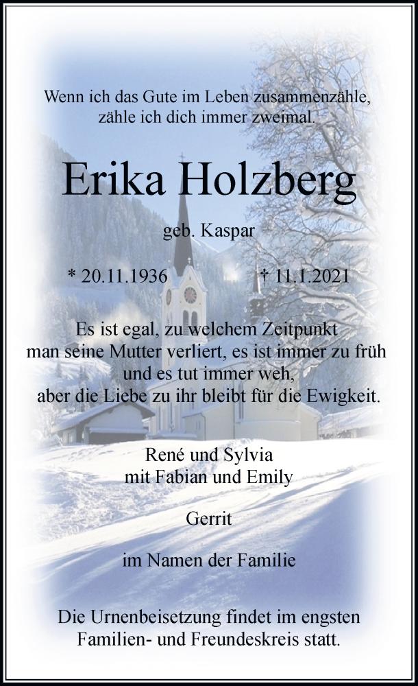Traueranzeige für Erika Holzberg vom 23.01.2021 aus Rheinische Post