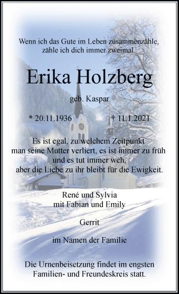 Traueranzeige von Erika Holzberg von Rheinische Post