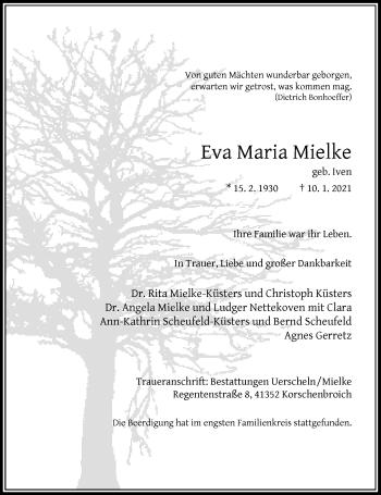 Traueranzeige von Eva Maria Mielke von Rheinische Post