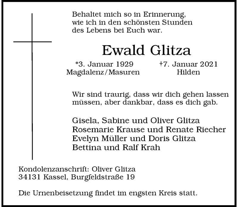 Traueranzeige für Ewald Glitza vom 16.01.2021 aus Rheinische Post