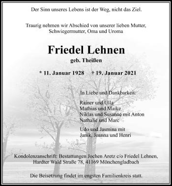 Traueranzeige von Friedel Lehnen von Rheinische Post