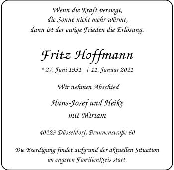 Traueranzeige von Fritz Hoffmann von Rheinische Post