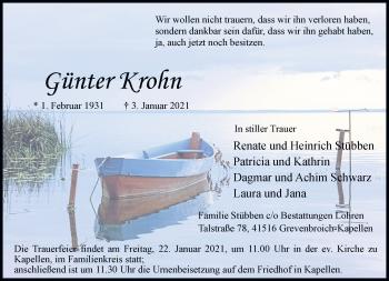 Traueranzeige von Günter Krohn von Rheinische Post