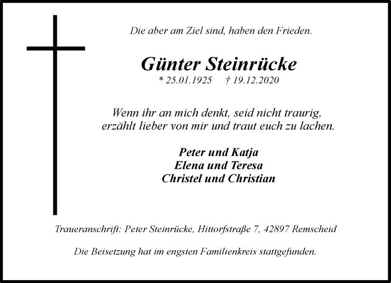 Traueranzeige für Günter Steinrücke vom 09.01.2021 aus Rheinische Post