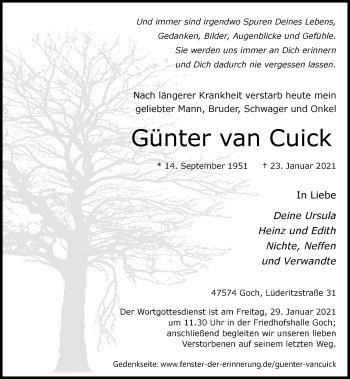 Traueranzeige von Günter van Cuick von Rheinische Post