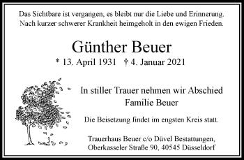 Traueranzeige von Günther Beuer von Rheinische Post