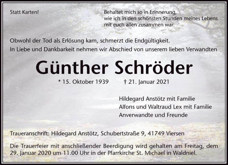 Traueranzeige für Günther Schröder vom 26.01.2021 aus Rheinische Post