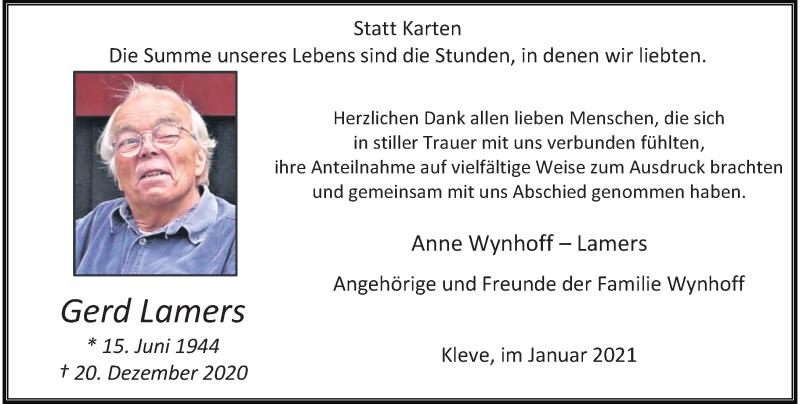 Traueranzeige für Gerd Lamers vom 30.01.2021 aus Rheinische Post