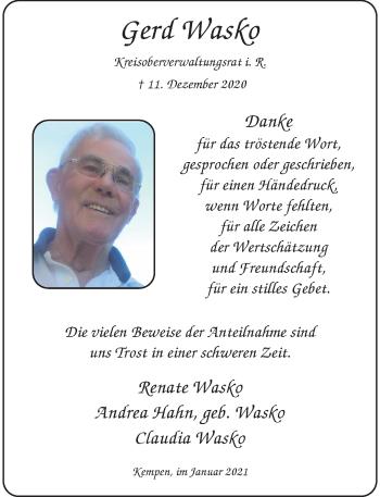 Traueranzeige von Gerd Wasko von Rheinische Post