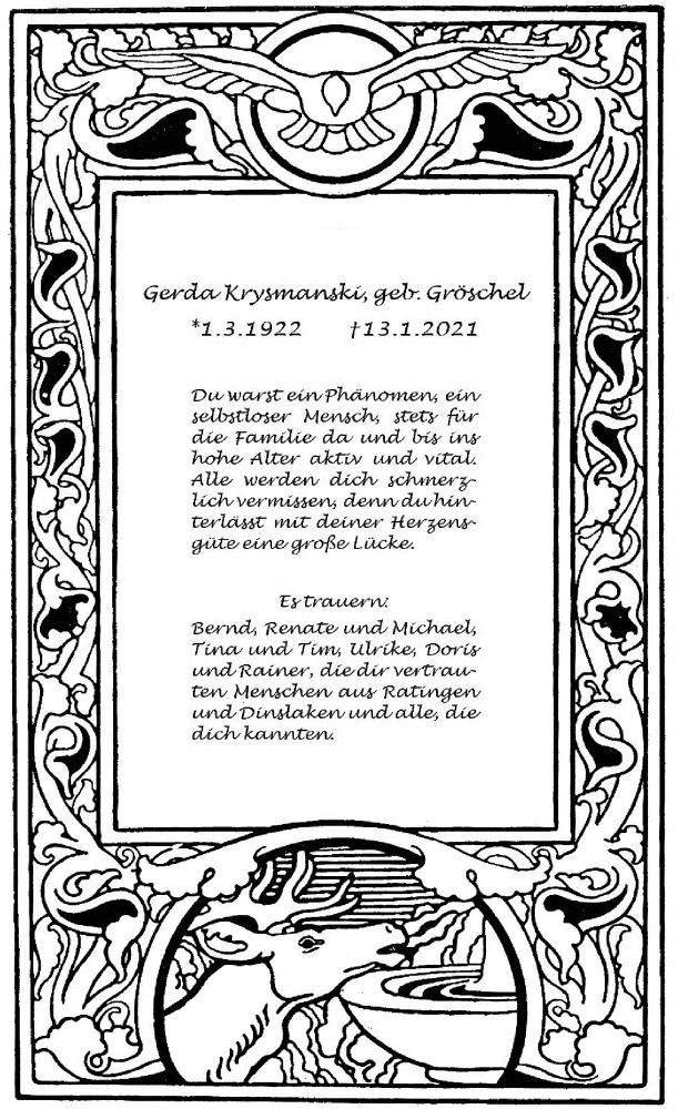 Traueranzeige für Gerda Krysmanski vom 23.01.2021 aus Rheinische Post