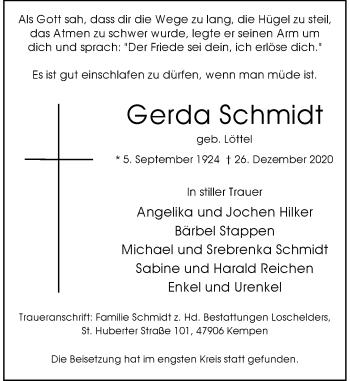Traueranzeige von Gerda Schmidt von Rheinische Post