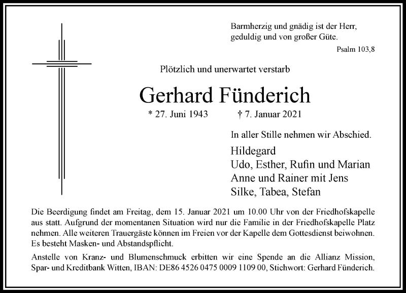 Traueranzeige für Gerhard Fünderich vom 13.01.2021 aus Rheinische Post