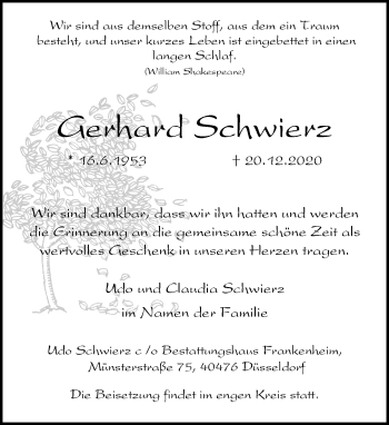 Traueranzeige von Gerhard Schwierz von Rheinische Post
