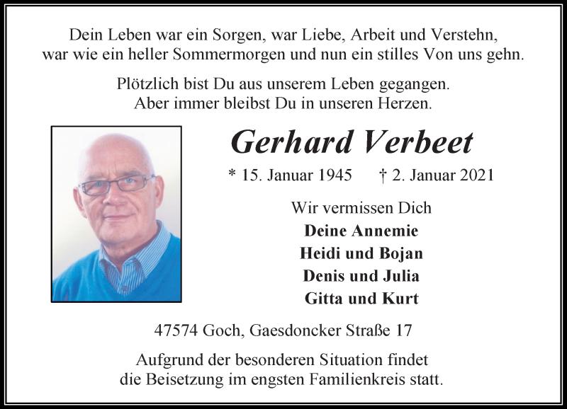 Traueranzeige für Gerhard Verbeet vom 06.01.2021 aus Rheinische Post