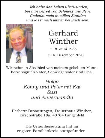 Traueranzeige von Gerhard Winther von Rheinische Post