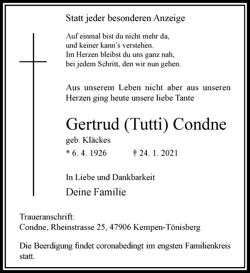 Traueranzeige für Gertrud Condne vom 30.01.2021 aus Rheinische Post