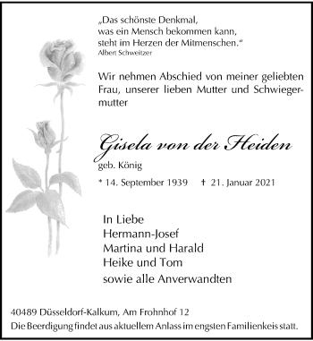 Traueranzeige von Gisela von der Heiden von Rheinische Post