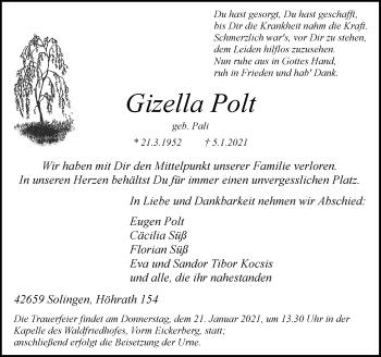 Traueranzeige von Gizella Polt von Rheinische Post