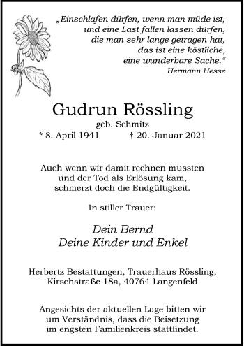 Traueranzeige von Gudrun Rössling von Rheinische Post