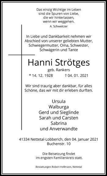 Traueranzeige von Hanni Strötges von Rheinische Post