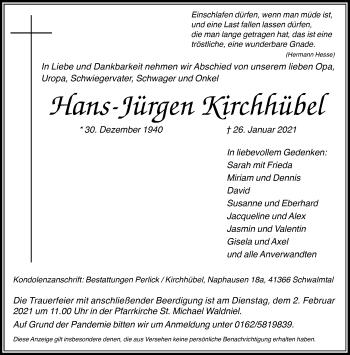 Traueranzeige von Hans-Jürgen Kirchhübel von Rheinische Post