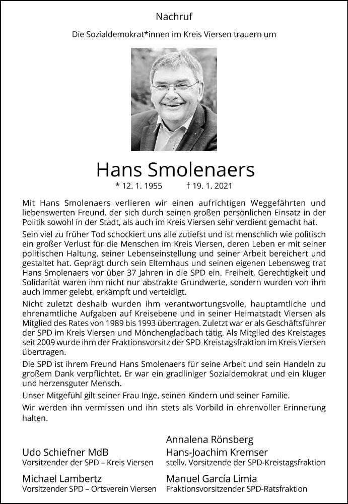 Traueranzeige für Hans Smolenaers vom 26.01.2021 aus Rheinische Post