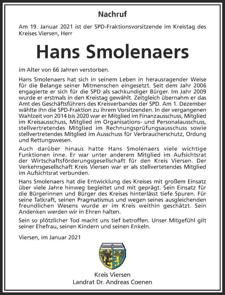Traueranzeige für Hans Smolenaers vom 25.01.2021 aus Rheinische Post
