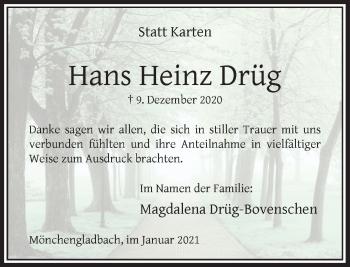 Traueranzeige von Hans Heinz Drüg von Rheinische Post