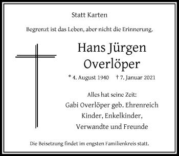 Traueranzeige von Hans Jürgen Overlöper von Rheinische Post