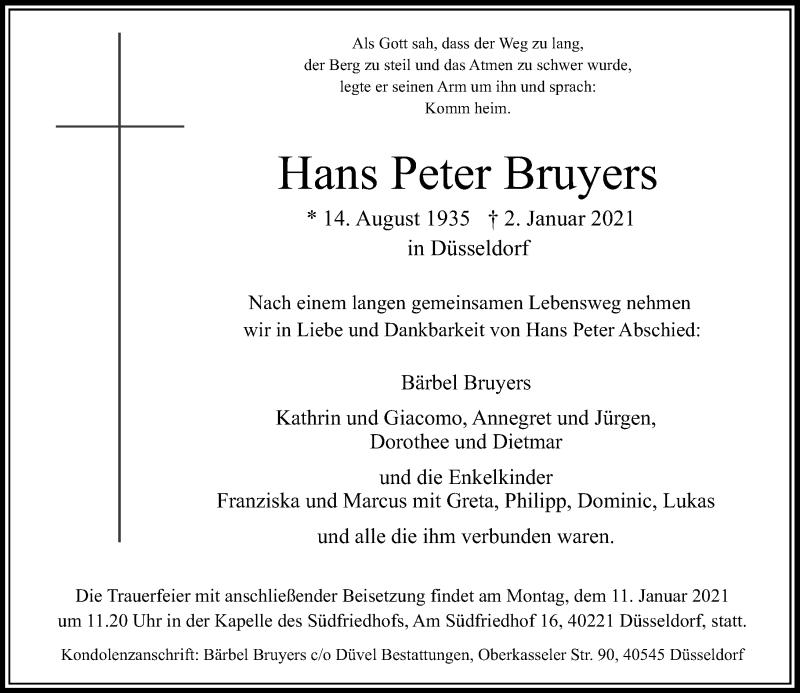 Traueranzeige für Hans Peter Bruyers vom 06.01.2021 aus Rheinische Post