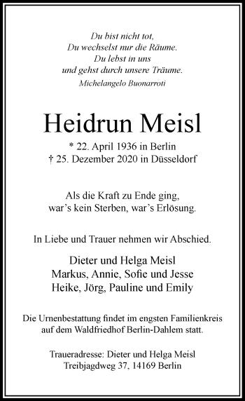 Traueranzeige von Heidrun Meisl von Rheinische Post