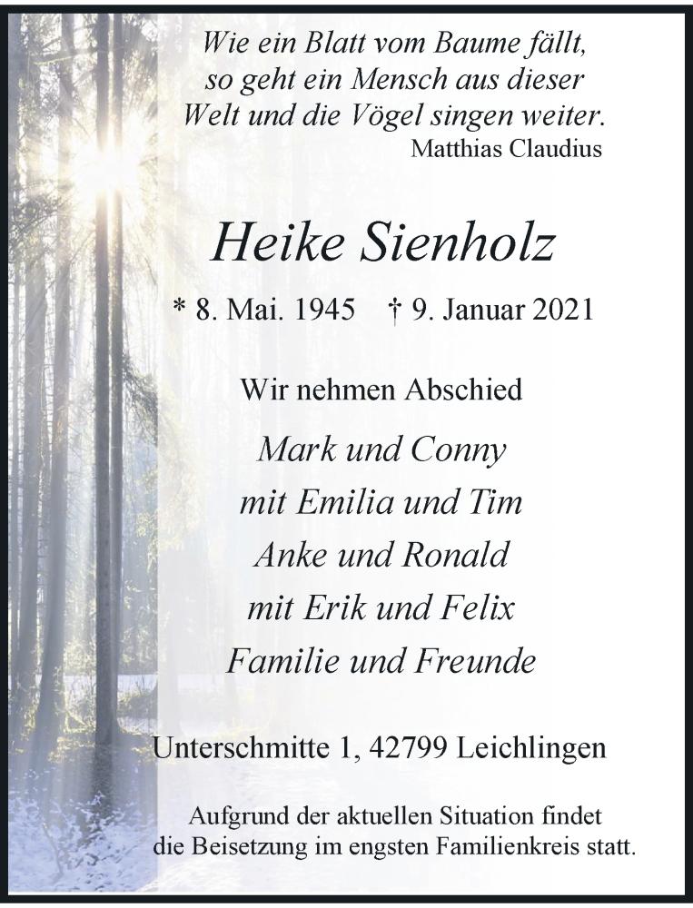 Traueranzeige für Heike Sienholz vom 30.01.2021 aus Rheinische Post