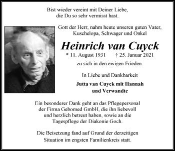 Traueranzeige von Heinrich van Cuyck von Rheinische Post