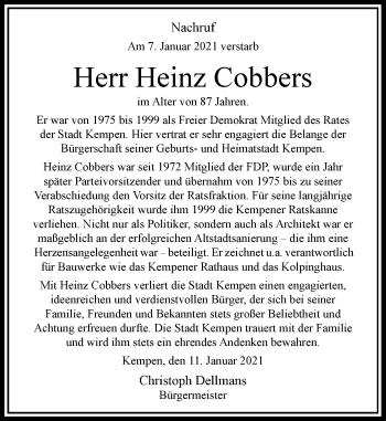 Traueranzeige von Heinz Cobbers von Rheinische Post