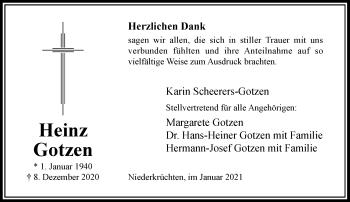 Traueranzeige von Heinz Gotzen von Rheinische Post