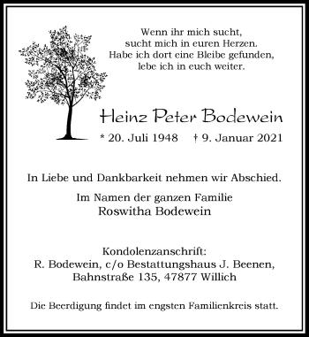 Traueranzeige von Heinz Peter Bodewein von Rheinische Post