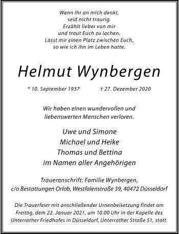 Traueranzeige von Helmut Wynbergen von Rheinische Post