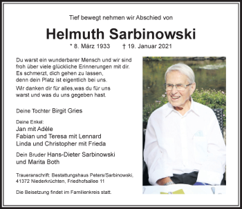 Traueranzeige von Helmuth Sarbinowski von Rheinische Post