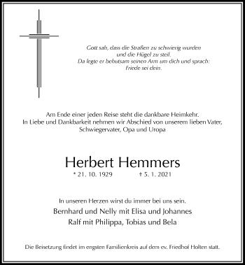Traueranzeige von Herbert Hemmers von Rheinische Post
