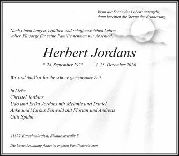 Traueranzeige von Herbert Jordans von Rheinische Post