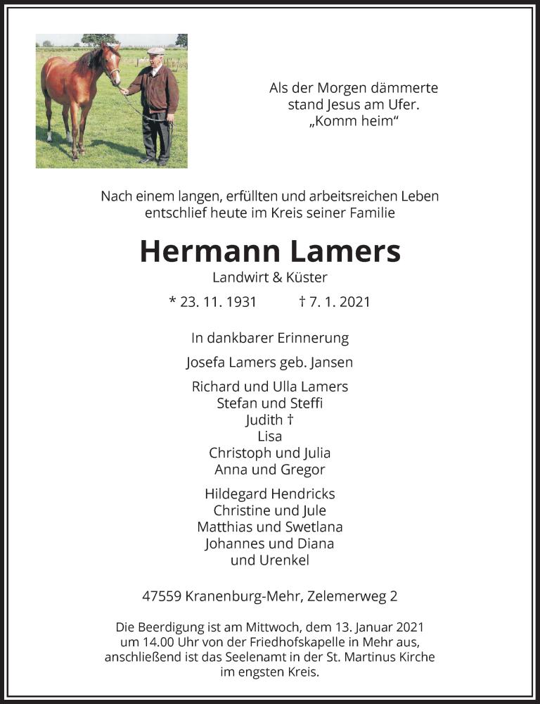 Traueranzeige für Hermann Lamers vom 09.01.2021 aus Rheinische Post