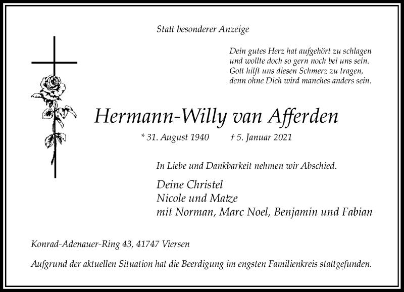 Traueranzeige für Hermann-Willy van Afferden vom 16.01.2021 aus Rheinische Post