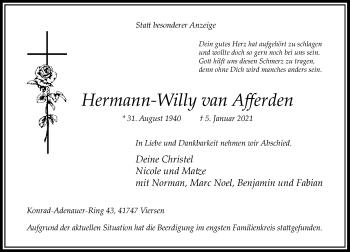 Traueranzeige von Hermann-Willy van Afferden von Rheinische Post