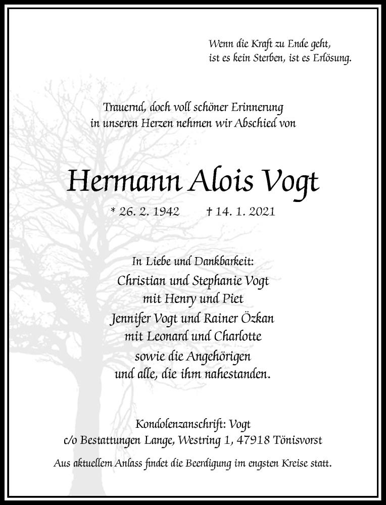 Traueranzeige für Hermann Alois Vogt vom 16.01.2021 aus Rheinische Post