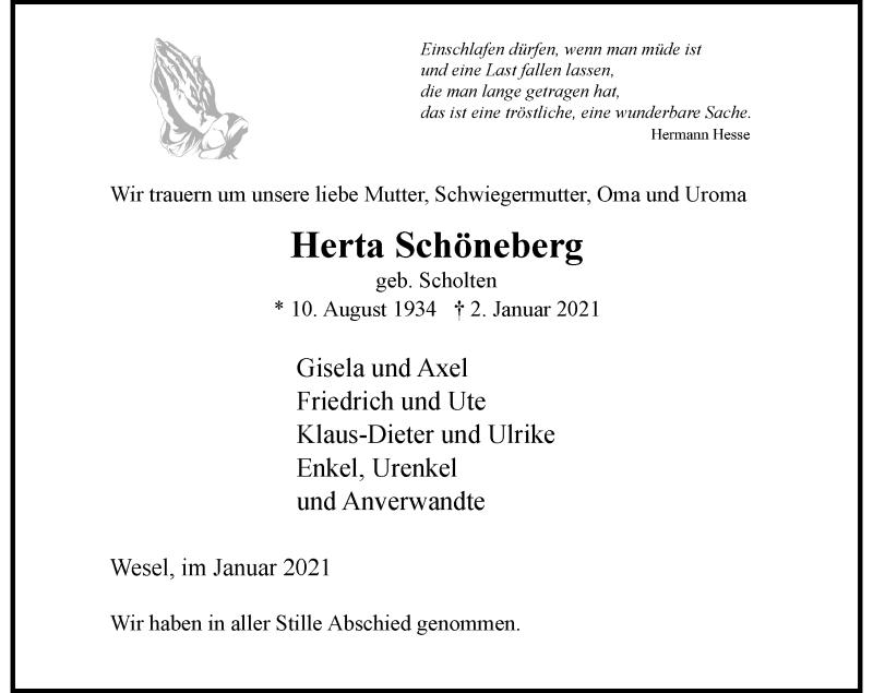 Traueranzeige für Herta Schöneberg vom 30.01.2021 aus Rheinische Post
