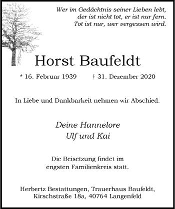 Traueranzeige von Horst Baufeldt von Rheinische Post