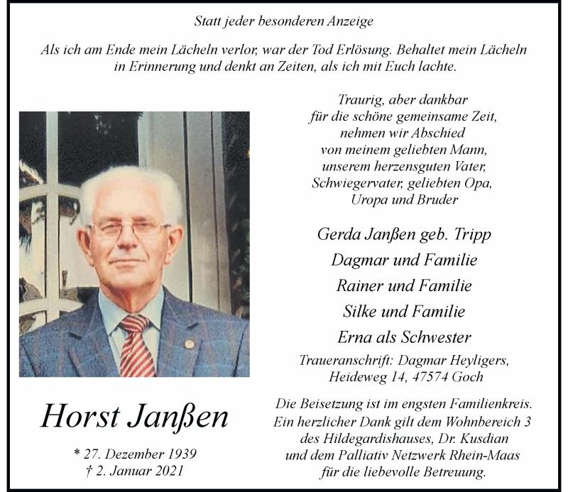 Traueranzeige für Horst Janßen vom 06.01.2021 aus Rheinische Post