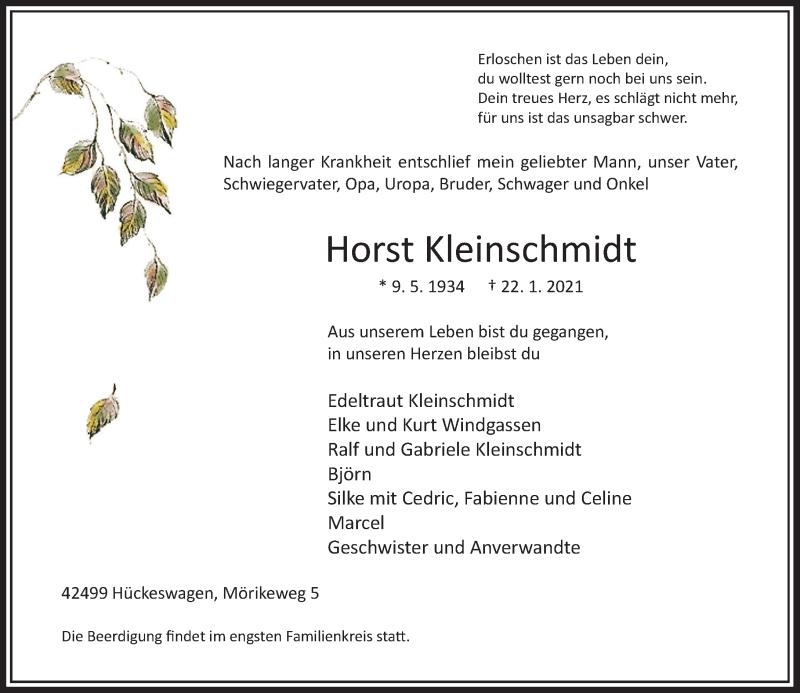 Traueranzeige für Horst Kleinschmidt vom 30.01.2021 aus Rheinische Post