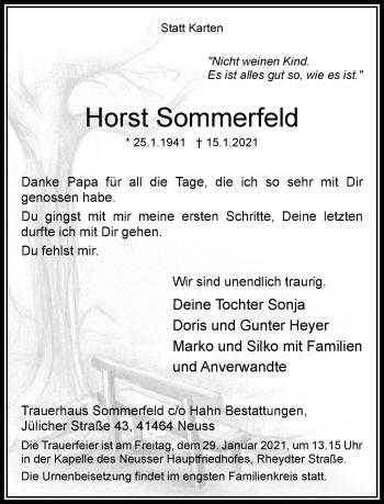 Traueranzeige von Horst Sommerfeld von Rheinische Post