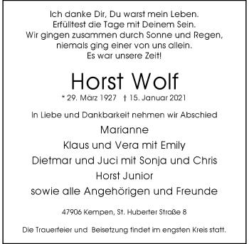 Traueranzeige von Horst Wolf von Rheinische Post